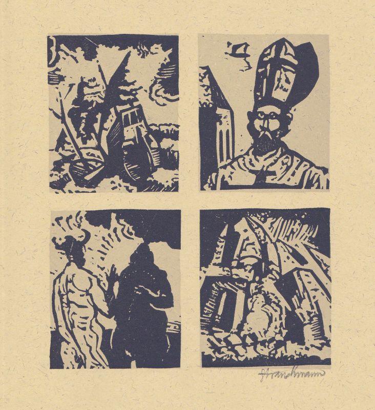 1979 Went Strauchmann Voltaire Originallinolschnitt zu Candide signiert