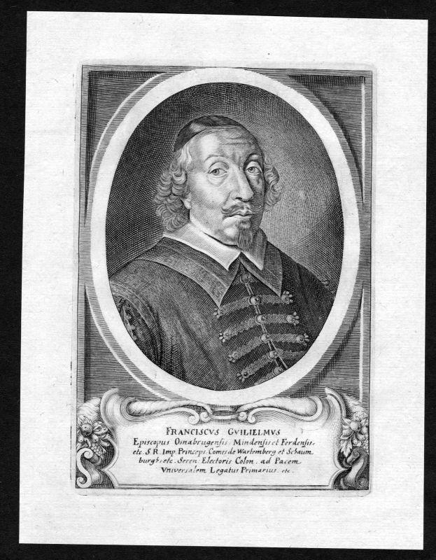 17. Jh Franz Wilhelm von Wartenberg Osnabrück Portrait Kupferstich antique print