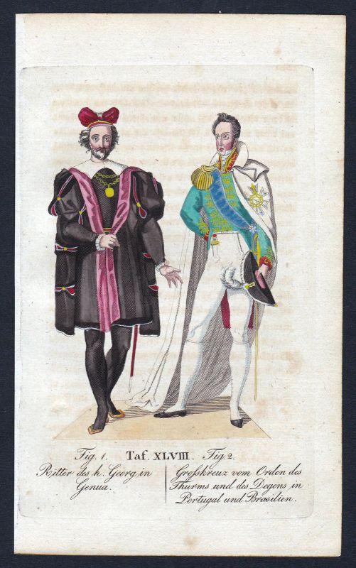 1820 Ordem Militar da Torre e Espada Ritterorden Orden Kupferstich antique print