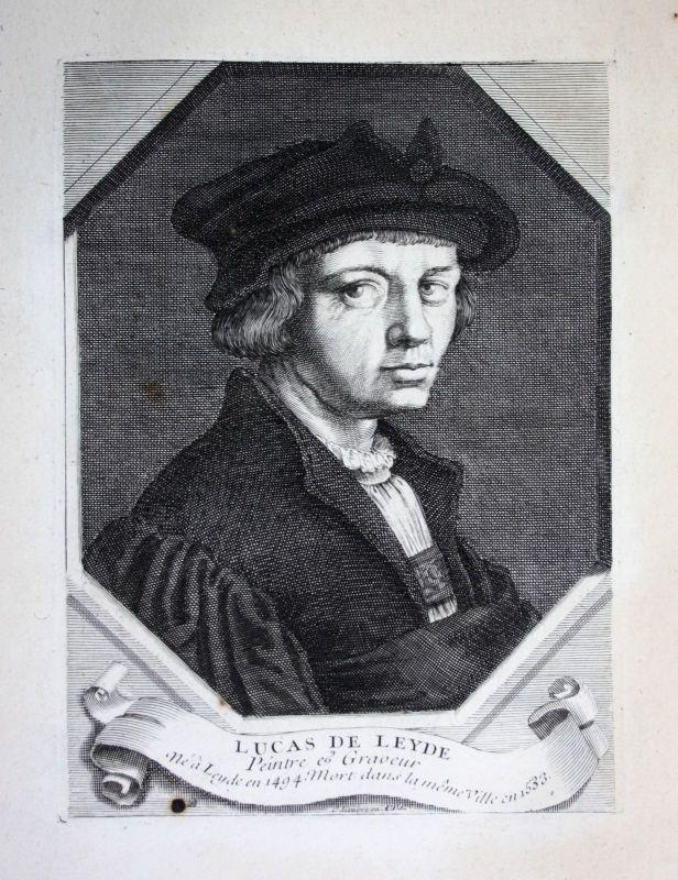 18. Jh. Lucas van Leyden painter engraver gravure Kupferstich Portrait