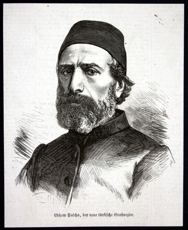 1877 Ibrahim Edhem Pascha Portrait Holzstich antique print