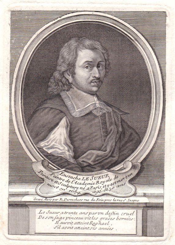 17. Jh. Eustache Le Sueur Paris peintre gravure Portrait antique print