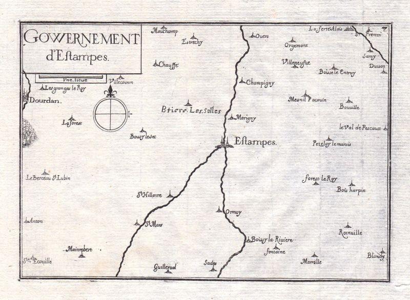 1630 Etampes Ile-de-France France gravure estampe Kupferstich Tassin