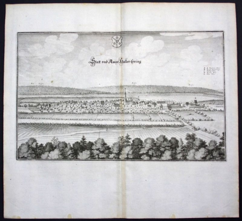 Springe / Region Hannover - Gesamtansicht - Karte Kupferstich Merian Merian: