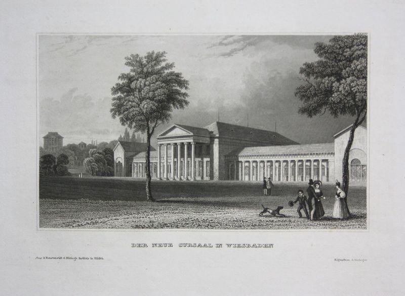 Kursaal Kurhaus Wiesbaden Hessen Ansicht view Stahlstich antique print ca. 1850