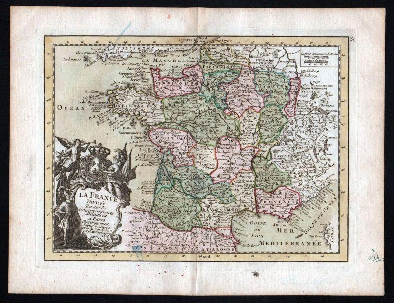 1767 France gravure carte Karte map Kupferstich antique print Le Rouge