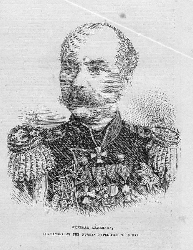 1873 General Kaufmann commander russian Khiva Xiva Portait antique print