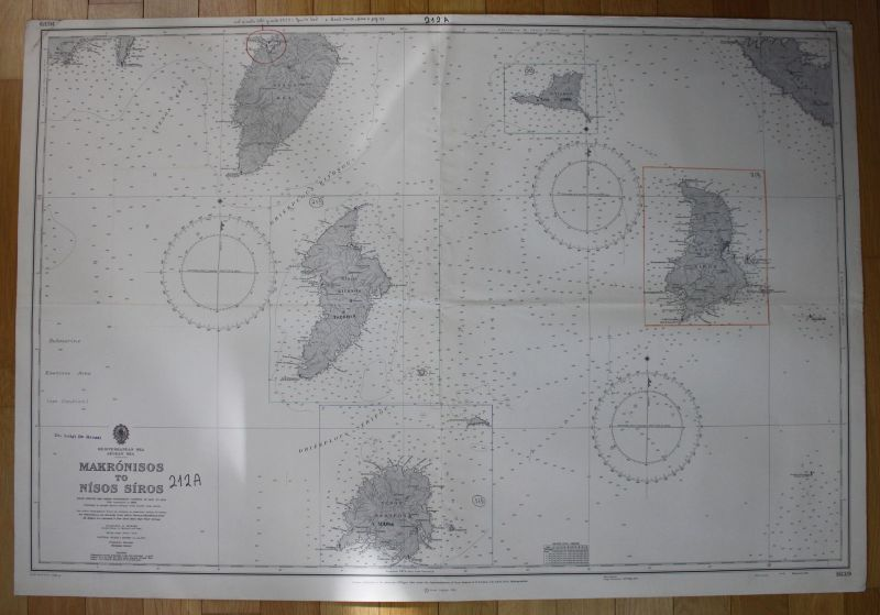 1965 Mediterranean Sea Aegean Sea Makronisos Nisos Siros Greece Griechenland map