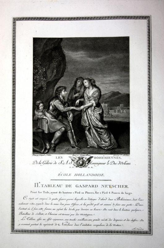Caspar Netscher Zigeuner bohemien gypsy Kupferstich antique print Halbou