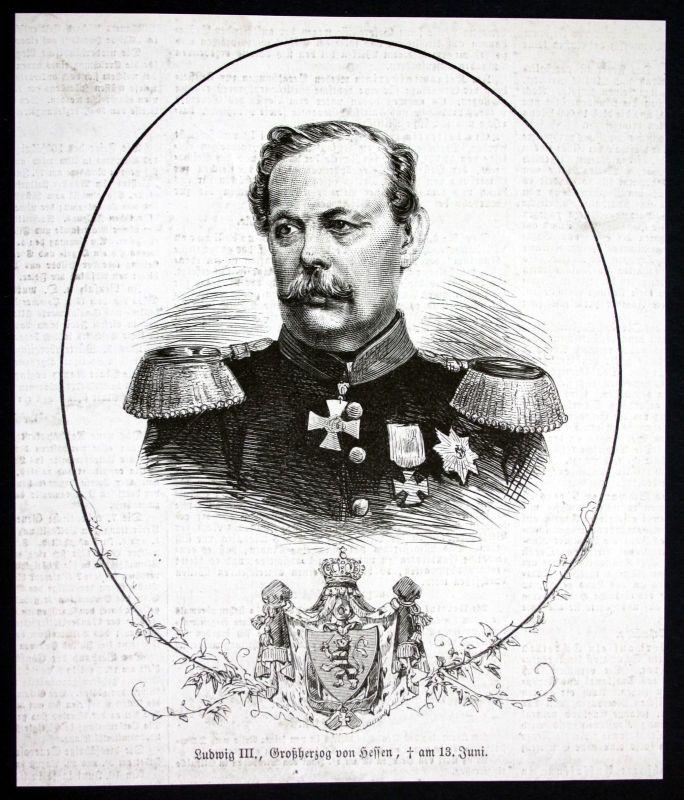 1877 Ludwig III Großherzog von Hessen Portrait Holzstich antique print