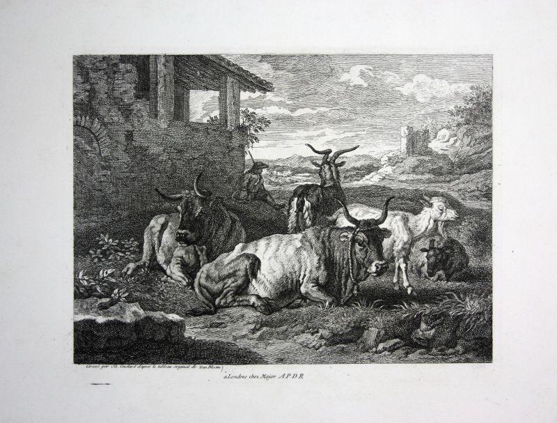 Ca. 1800 Rinder Herde Ziegen Tiere cow goats Kupferstich engraving Guelard
