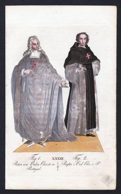 1820 Ordem de Cristo Christusorden Ritterorden Orden Kupferstich antique print