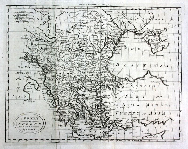Ca. 1790 Turkey Türkei Europe Europa Crimea Karte map Kupferstich engraving