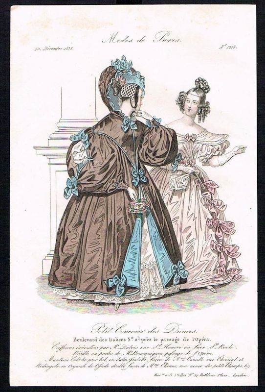1835 Biedermeier Mode Kupferstich victorian fashion antique print Paris et 89288