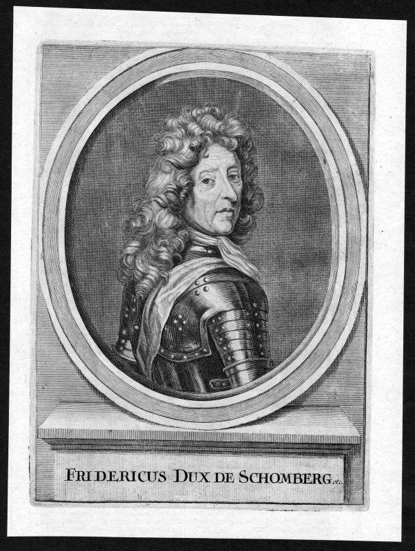 17. Jh Friedrich von Schomberg Graf Schönberg Portrait Kupferstich antique print