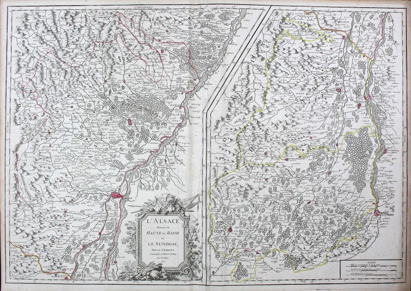 1754 Frankreich France Alsace Elsass Straßburg Strasbourg Karte map Kupferstich