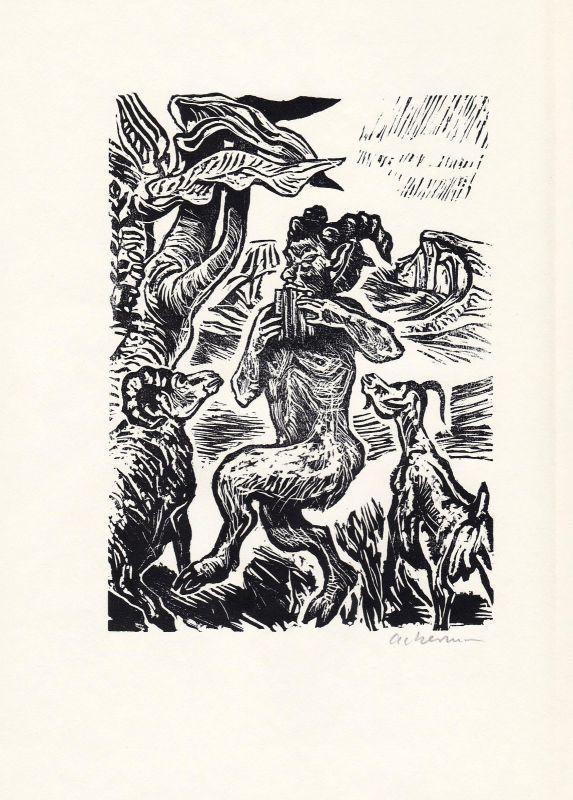1967 Helmut Ackermann Holzschnitt zu Vergils Bucolica signiert