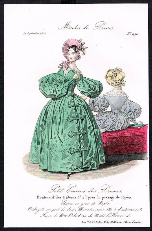 1835 Biedermeier Mode Kupferstich victorian fashion antique print Paris et 61750