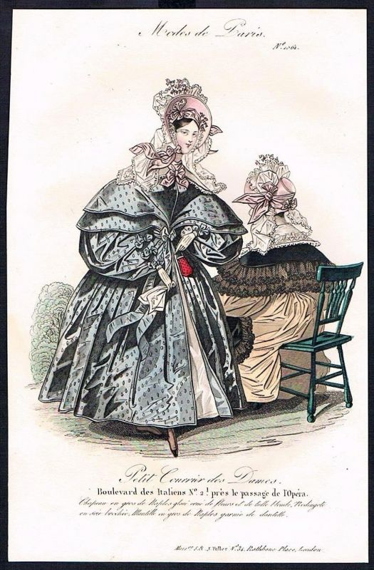 1834  Biedermeier Mode Kupferstich victorian fashion antique print Paris e 89264
