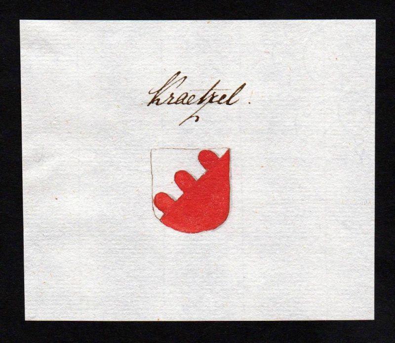 18. Jh. Krätzl Adel Wappen Handschrift Manuskript manuscript coat of arms