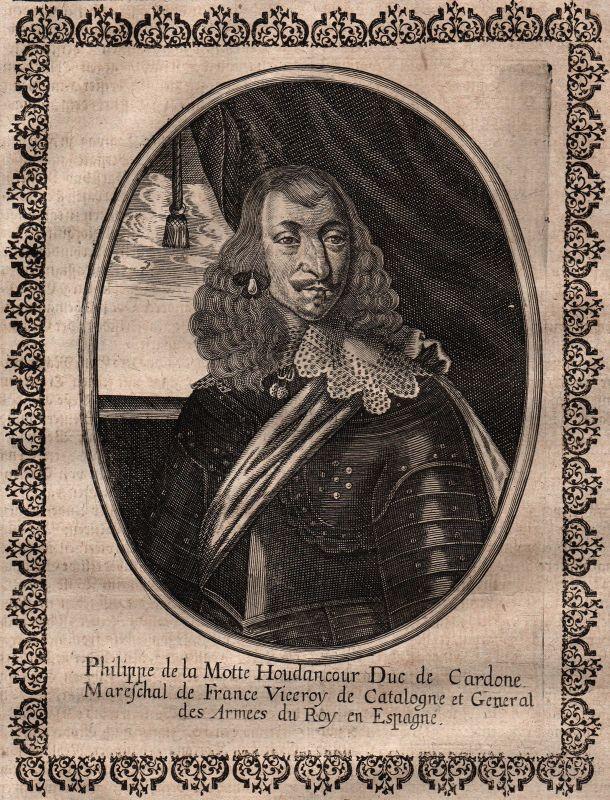 Philippe de La Mothe-Houdancourt Portrait Kupferstich gravure Merian ca. 1650 0