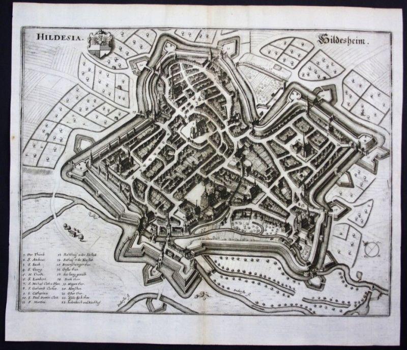 Hildesheim / Stadtplan - Gesamtansicht - Karte Kupferstich Merian Merian: