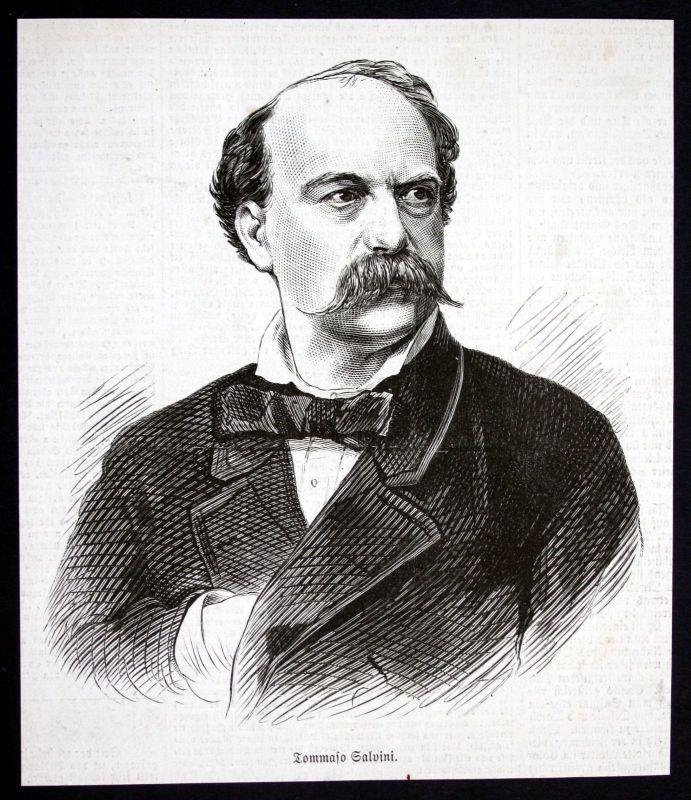 1877 Tommaso Salvini Schauspieler Portrait Holzstich antique print