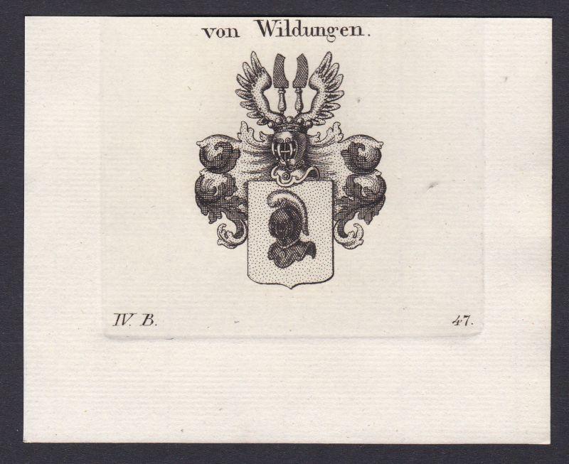 1820 Wildungen Wappen Adel coat of arms Heraldik Kupferstich antique print