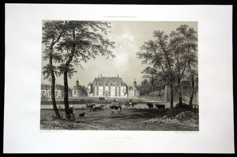 Ca. 1860 Chateau du Boschet Ansicht vue Bretagne Frankreich France Lithographie