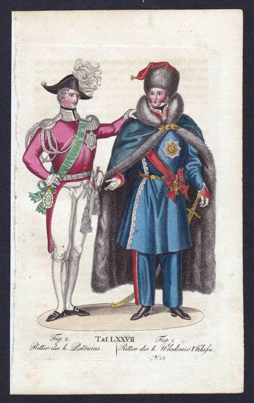 Ca. 1820 Order of Saint Vladimir Saint Patrick Ritterorden Orden antique print