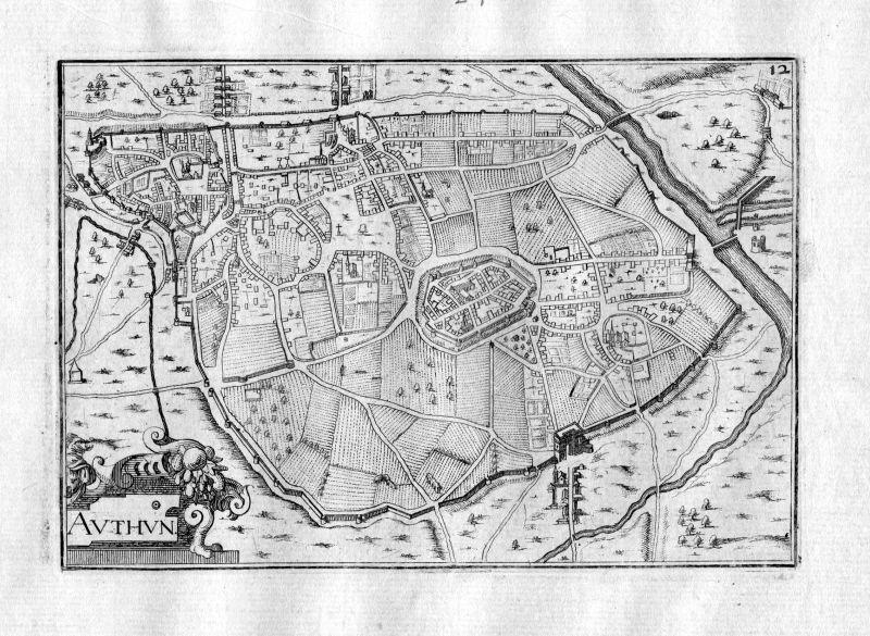Ca. 1630 Authun Aveyron France Kupferstich Karte map engraving gravure Tassin