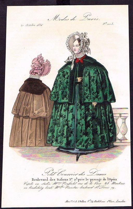 1834 Biedermeier Mode Kupferstich victorian fashion antique print Paris et 61737