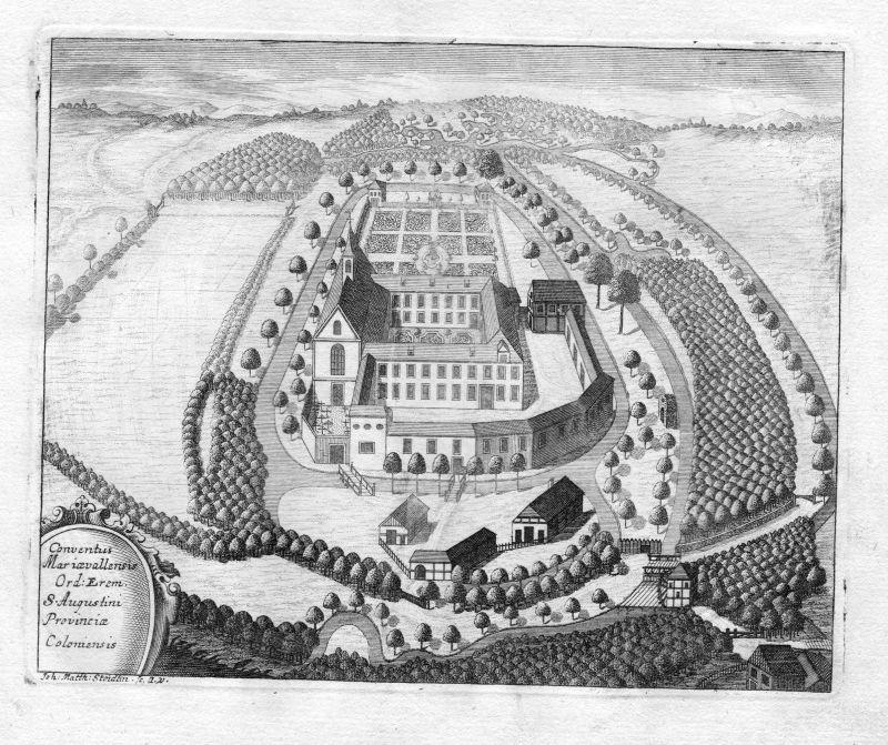 1731 Kloster Marienthal Hamminkeln Augustiner Kupferstich antique print Steidlin