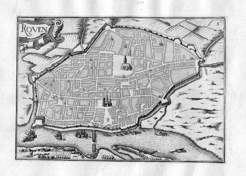 Ca. 1630 Rouen Normandie France Kupferstich Karte map engraving gravure Tassin