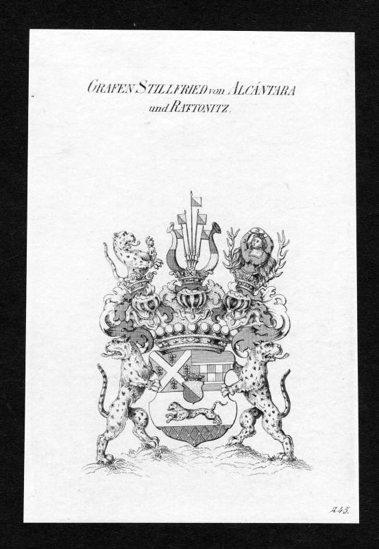 Ca.1820 Stillfried-Rattonitz Alcantara Wappen Adel coat of arms Kupferstich
