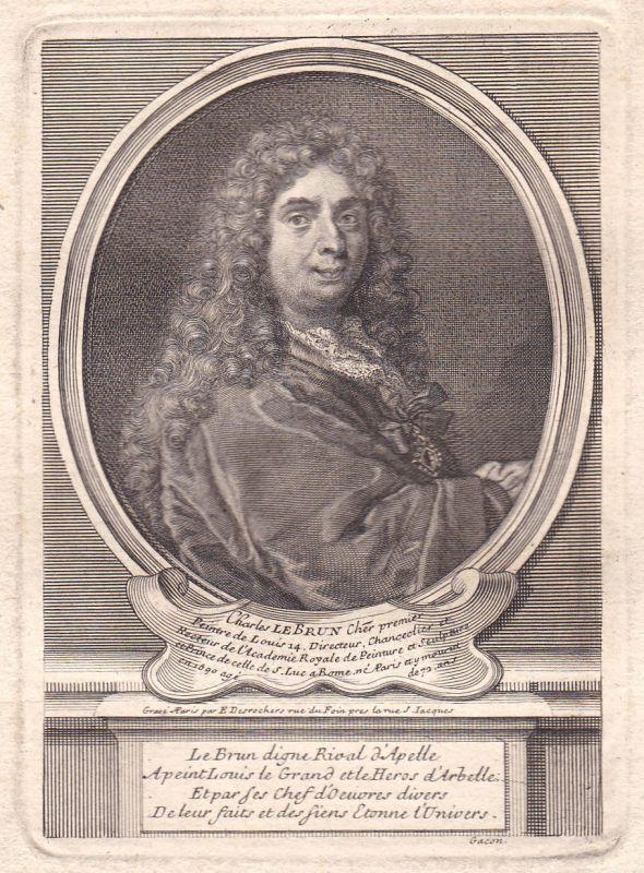 17. Jh. Charles Le Brun Paris peintre gravure Portrait antique print