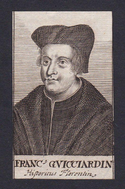 17. Jh. - Francesco Guicciardini / historian Firenze Portrait Kupferstich