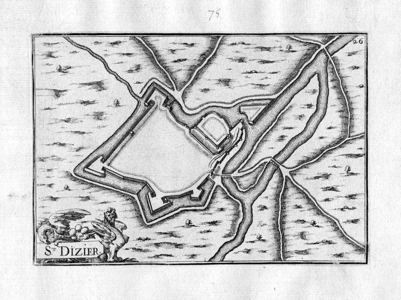 1630 Saint-Dizier Frankreich France Kupferstich map engraving gravure Tassin