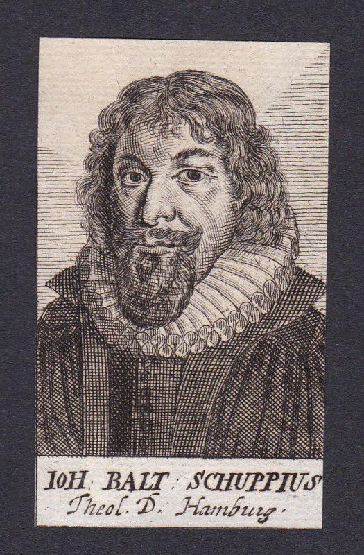 17 Jh Johann Balthasar Schupp writer Schriftsteller Hamburg Portrait Kupferstich