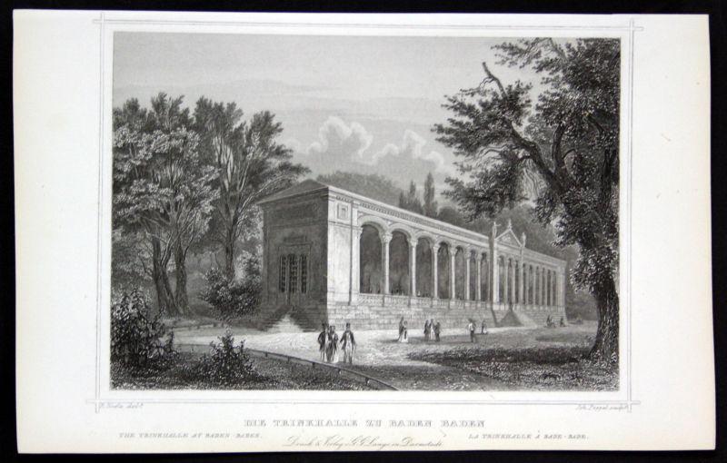 1850 Baden Württemberg Trinkhalle gravure Stahlstich Poppel Höfle