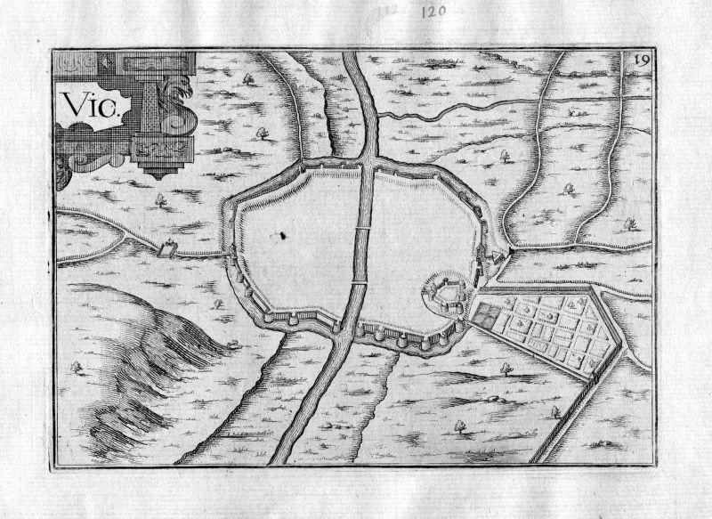 Ca. 1630 Vic-Fezensac Frankreich Kupferstich Karte map engraving gravure Tassin