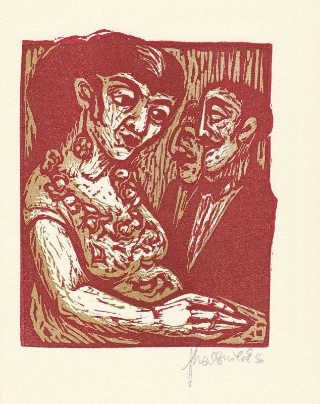 1993 Gertrud Boernieck Guy de Maupassant Linolschnitt Erzählung signiert