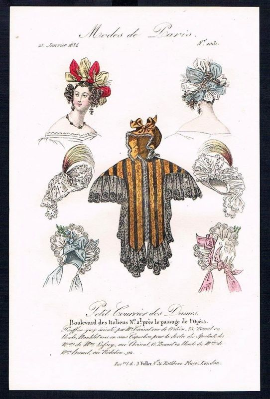 1833  Biedermeier Mode Kupferstich victorian fashion antique print Paris e 61701
