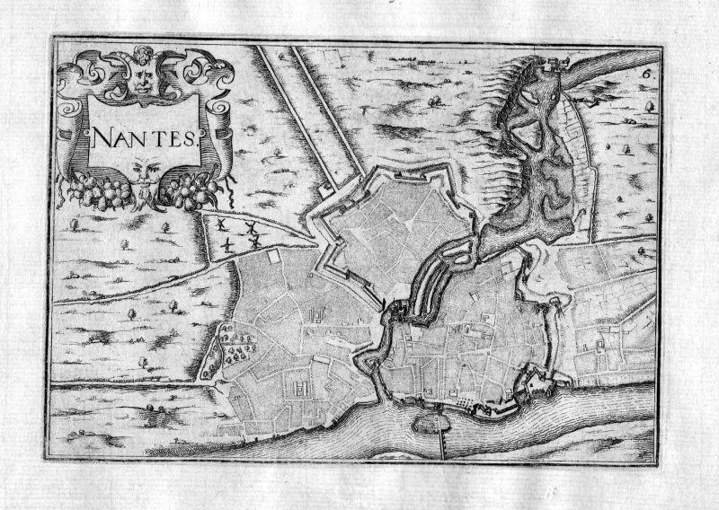 Ca. 1630 Nantes Loire France Kupferstich Karte map engraving gravure Tassin