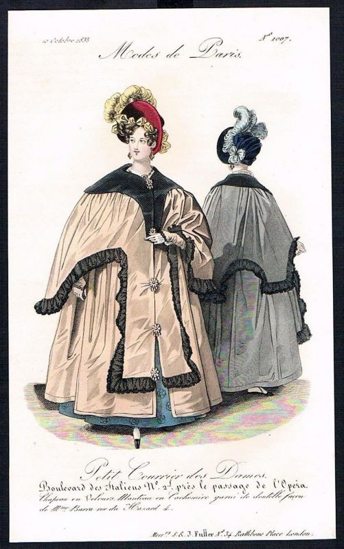 1833  Biedermeier Mode Kupferstich victorian fashion antique print Paris e 89257