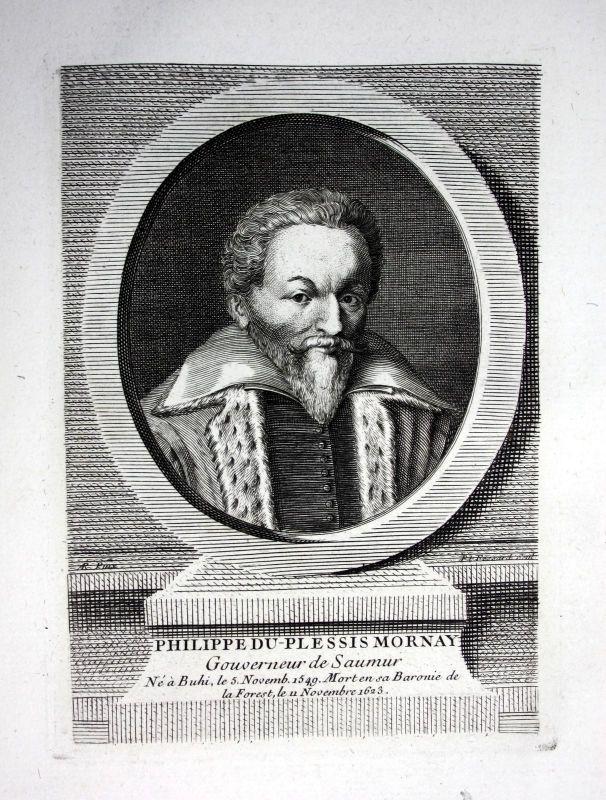 18. Jh Philippe Duplessis Mornay ecrivain gravure Kupferstich Portrait engraving