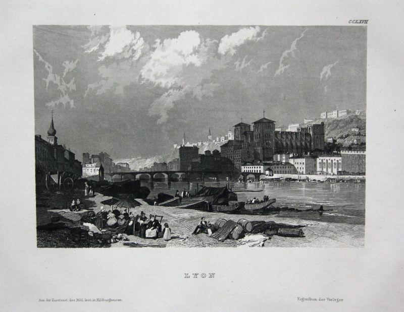 Lyon France Frankreich Ansicht view vue Stahlstich antique print ca. 1850