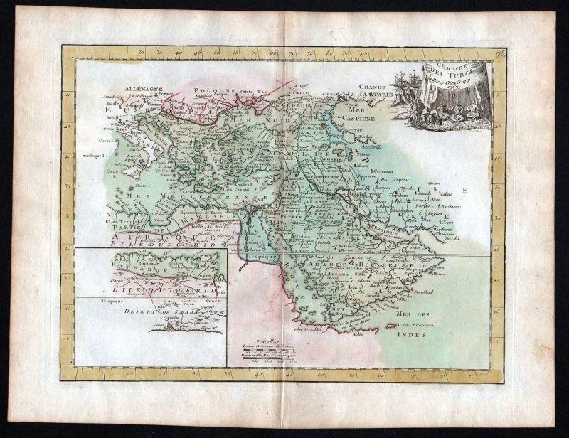 1767 Turkey Syria Lybanon Iraq Iran Karte map Kupferstich antique print Le Rouge