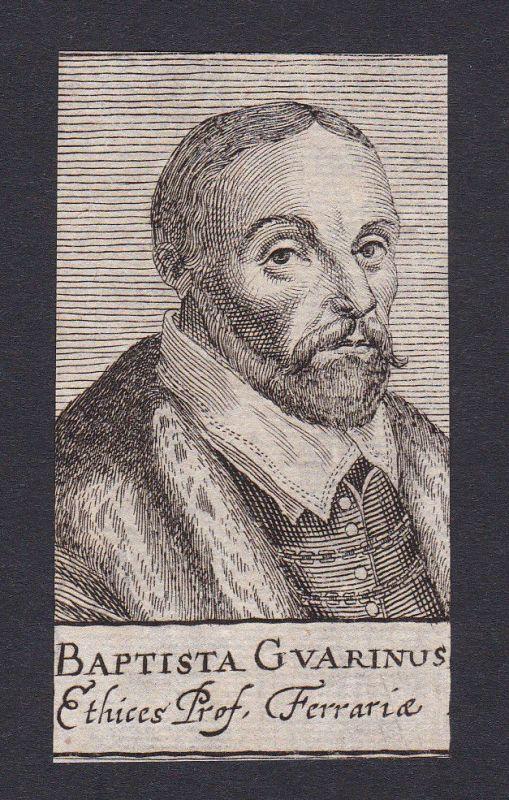 17. Jh. Battista Guarino / professor Professor Ferrara Portrait Kupferstich