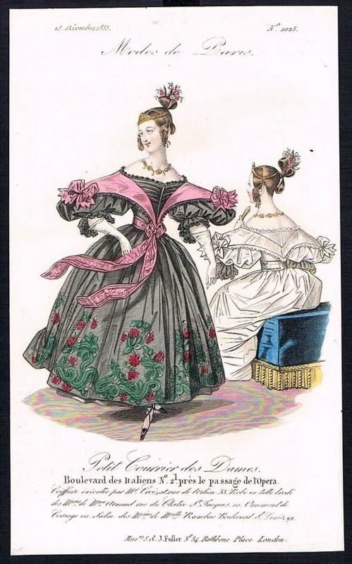 1833  Biedermeier Mode Kupferstich victorian fashion antique print Paris e 89250